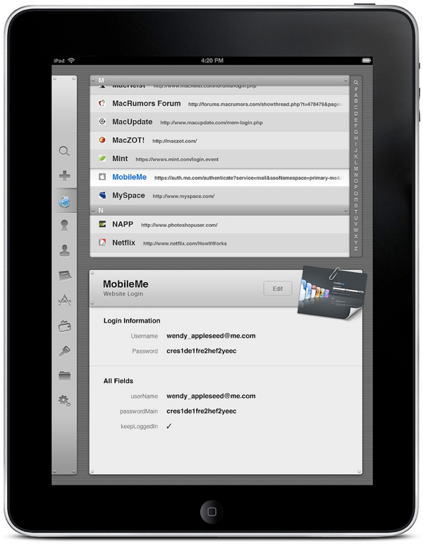 1password per iPad