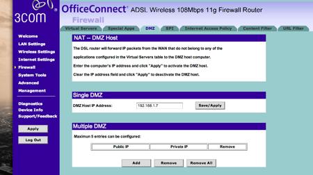 3com configuració excepcions al firewall DMZ