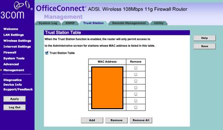 3com permetre només a certes màquines accedir a configurar el router