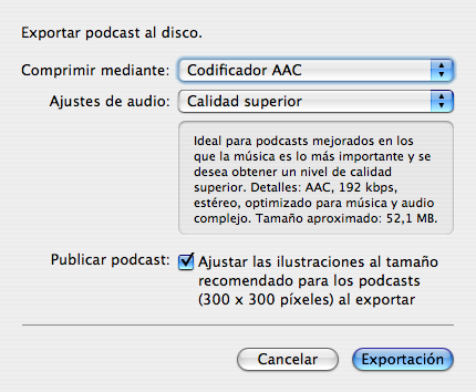 curs podcasting - exportar podcast