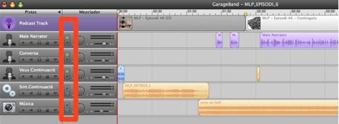 Podcasting - Garageband - Resta de pistes d'àudio - nivells