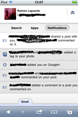 Notificacions noves a Google+ i Google Apps Mobile