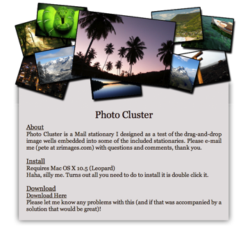 PhotoCluster template html per Mail