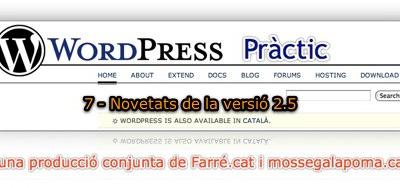 WordPress Pràctic 7 – Novetats de la versió 2.5