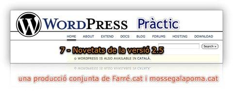WordPress Practic 7 - Novetats de la versió 2.5