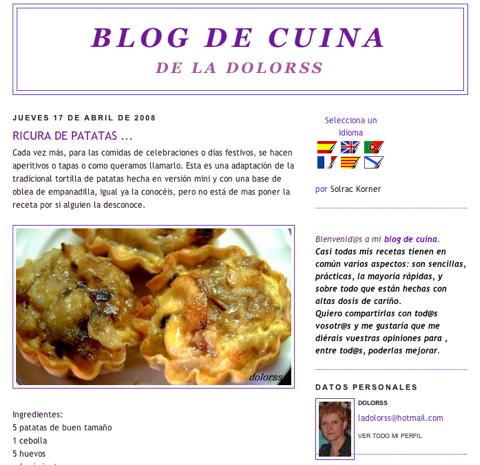 """Cop d'ull: """"Blog de Cuina de la Dolorss"""""""
