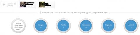 Pantalla de contactes a Google+