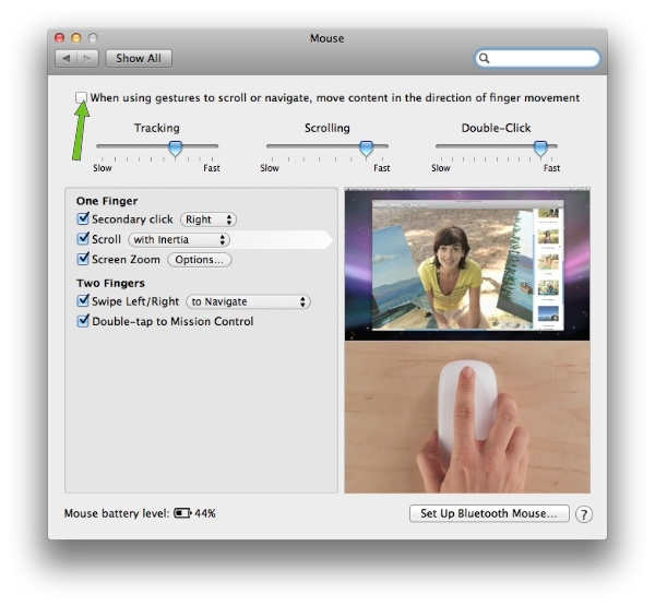 Mouse Preferences - Mac OS X Lion