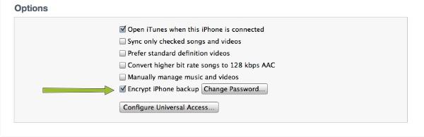Encriptar la còpia de seguretat de l'iPhone