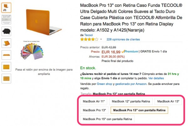 Escollir model de MacBook per a funda de plàstic