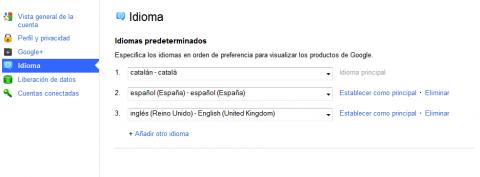 Idioma a Google+