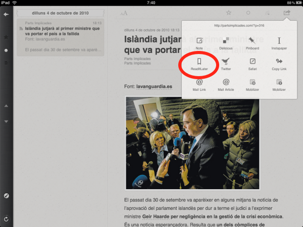 Exemple Instapaper a Reader d'iPad