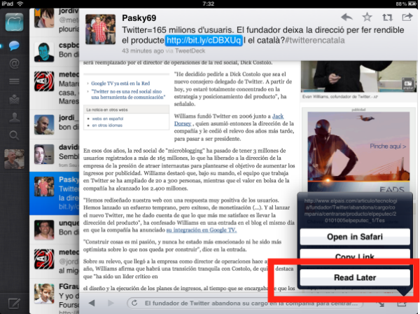 Exemple Instapaper a Twitter d'iPad