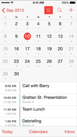 iOS 7.1 calendari