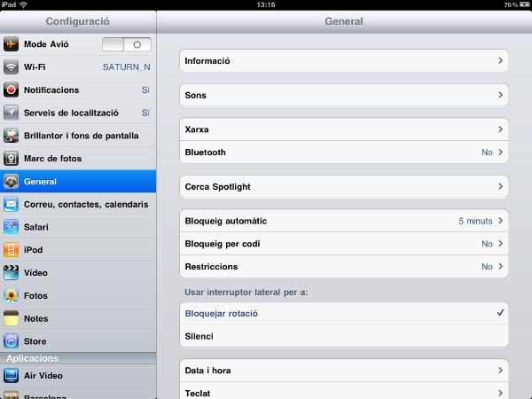 Configurar botó lateral de l'iPad