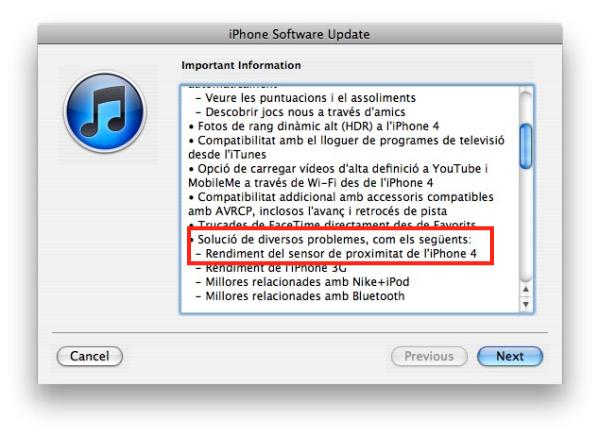 actualització a la 4.1 de l'iPhone4