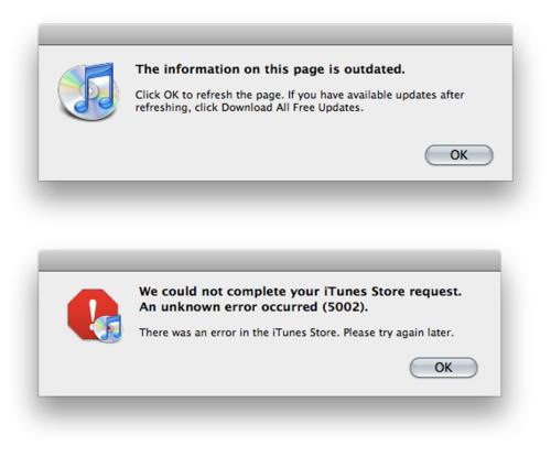 iTunes error 5002