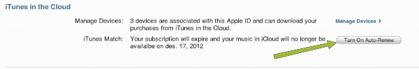 iTunes Match Renew