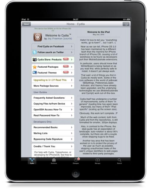 Cydia a l'iPad amb Spirit
