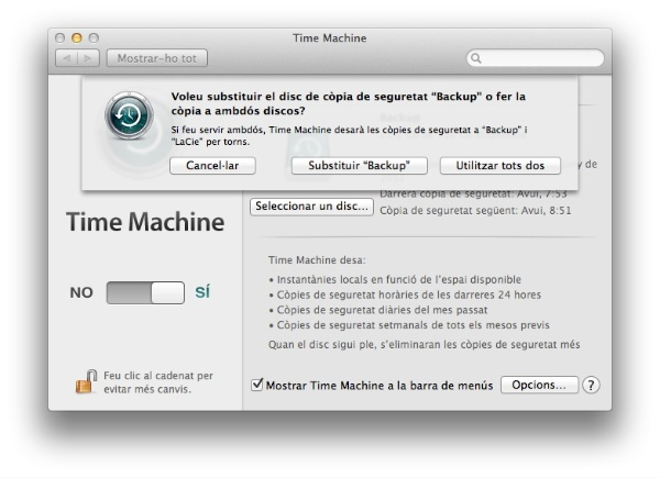 time machine configuració