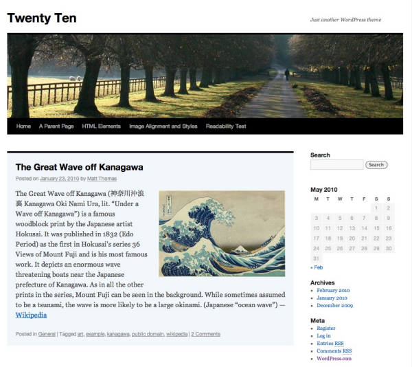 twentyten default wordpress theme